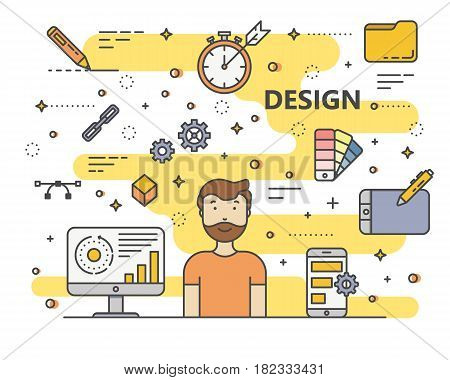 Design concept vector illustration. Modern thin line flat design elements, icons for web, marketing, presentation and printing.