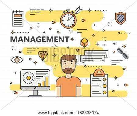 Management concept vector illustration. Modern thin line flat design elements, icons for web, marketing, presentation and printing.