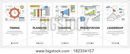 Vector set of business meeting concept vertical banners. Timing, Planning, Sharing, Presentation and Leadership templates. Modern thin line flat design elements, symbols, icons for website menu, print