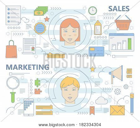 Vector set of sales and marketing concept banners. Modern thin line flat design symbols, icons for web, marketing and print.