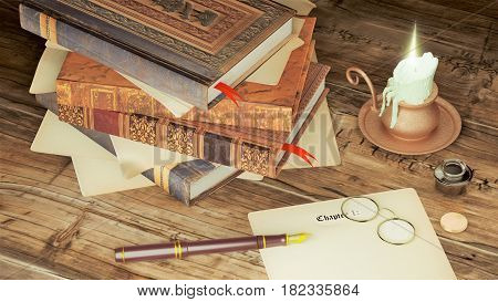 Pile of books with candle, fountain pen and ink over wooden table.