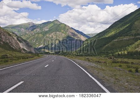 Chuysk tract. Mountain Altai road. Summer landscape