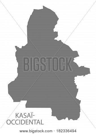Kasai-occidental Province Map Congo Democratic Republic Grey Illustration Silhouette