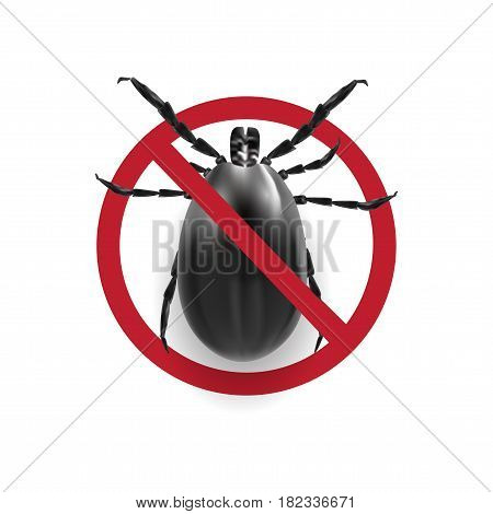 Warning sign in black and white.. Harvest bug on a white background with shadow. Vector illustration
