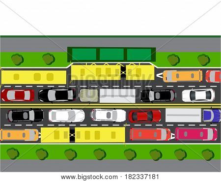 Road, street or highway with complex traffic. The transit jam. Different machines. Isolated on white background. Vector illustration