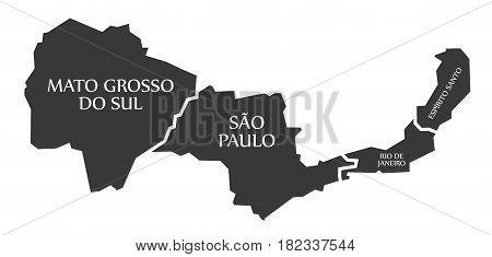 Mato Grosso Do Sul - Sao Paulo - Rio De Janeiro - Espirito Santo Map Brazil Illustration