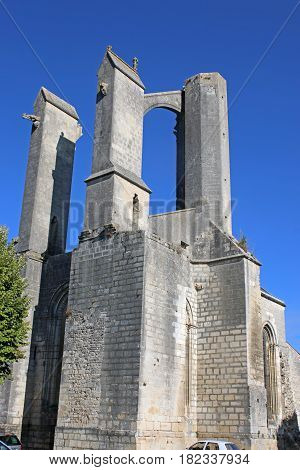 butresses of the ruined Abbey of St Jean D'Angely, France