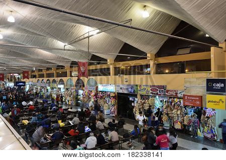 AREQUIPA PERU - AUGUST 25: Interior of Arequipa bus station on August 25 2016 in Arequipa Peru South America.