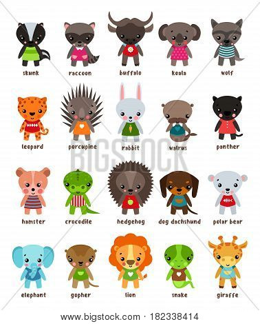Skunk and smiling raccoon, baby buffalo and koala, wolf and cartoon leopard, wild panther and animal walrus, hamster and crocodile, snake lizard and giraffe, lion and gopher, elephant. Zoo theme