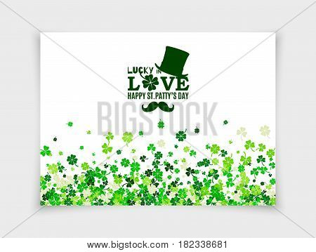 Lucky in Love for Happy Saint Patrick's Day design greeting card with top hat, mustache, four leaved clover isolated on white paper background. Vector illustration