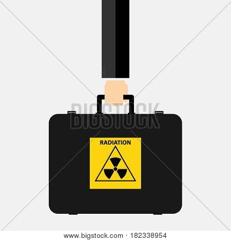 Suitcase with sign radiation in hand. Flat design vector illustration vector.