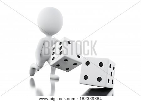 3D White People Throwing Dices