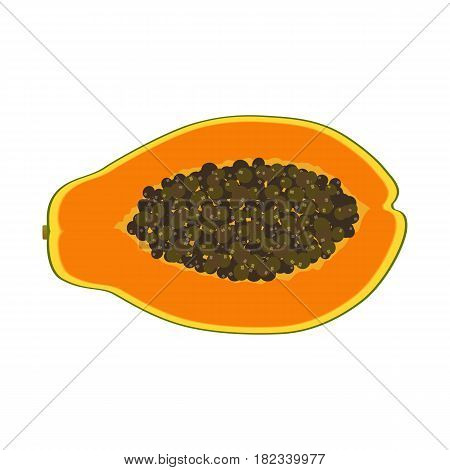 Isolated realistic colored slice of juicy orange papaya pawpaw paw paw with seeds on white background