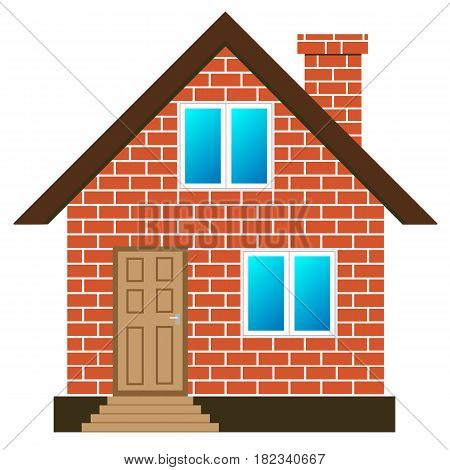 red brick house with windows and door, vector illustration