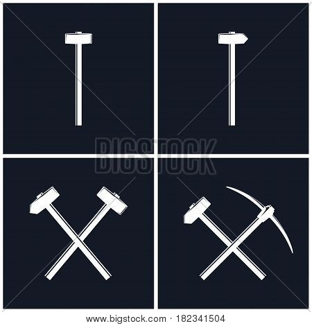 White Tools for Percussion Works Isolated on Black Background, Crossed Hammer and Sledgehammer, Crossed Pickaxe and Sledgehammer, Mining Industry, Black and White Vector Illustration