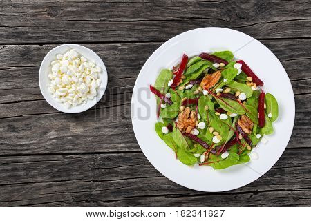 Salad Of Chard, Cottage Cheese, Beetroot, Nuts
