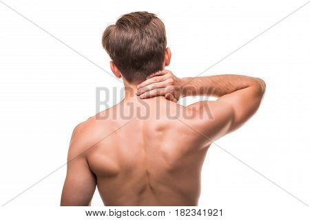 Man Or Sportsman With Pain In Neck Isolated On White Background