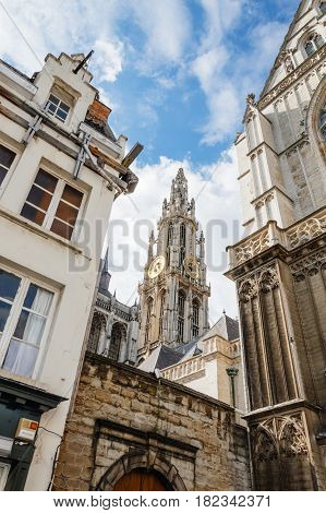 Antwerp Belgium - July 28 2016: Cathedral of Antwerp- Outdoor view a blue sky day