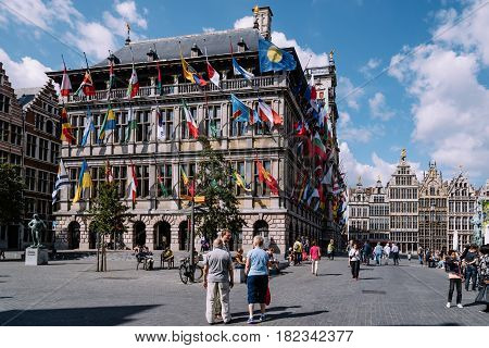 Antwerp Belgium - July 28 2016: The Grote Markt and Town Hall of Antwerp. It is located in the heart of the old city quarter.