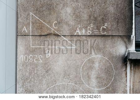 Math signs on an city wall in Antwerp Belgium