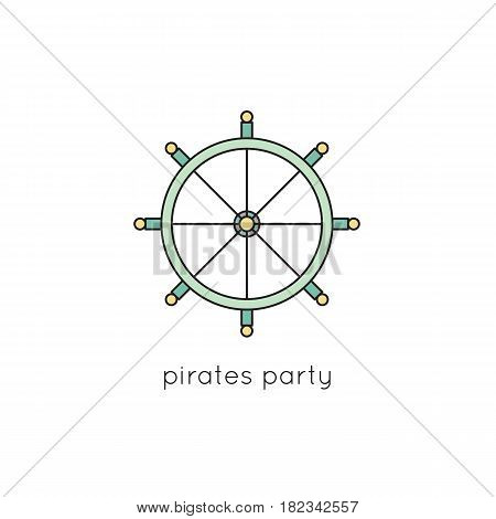 Steering wheel vector thin line icon. Colored isolated symbol. Logo template, element for travel agency products, tour brochure, excursion banner. Simple mono linear modern design.