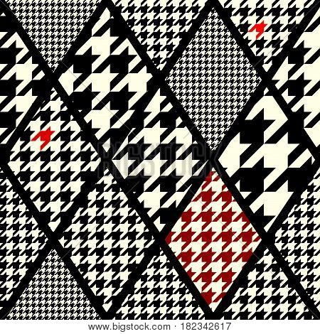 Seamless background pattern. Abstract geometric pattern of rhombuses in a patchwork style. Houndstooth pattern.