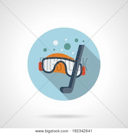 Diving goggles and snorkel with bubbles. Equipment for snorkeling and underwater sport. Round flat design blue vector icon, long shadow.