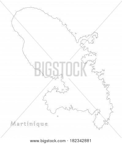 Martinique outline silhouette map illustration sketch draft
