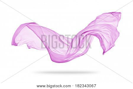Smooth elegant pink transparent cloth separated on white background. Texture of flying fabric.