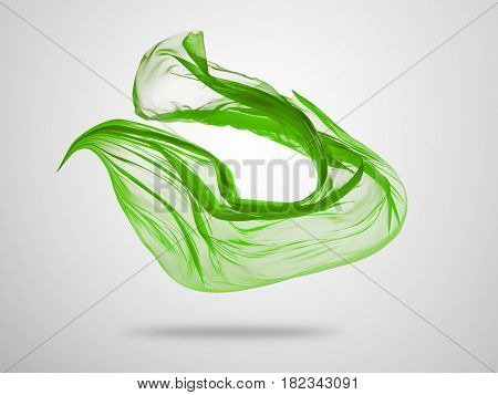 Smooth elegant green transparent cloth separated on grey background. Texture of flying fabric.