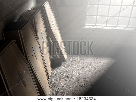 A row of upright wooden coffins against a wall in a dilapidated room lit by light through a window - 3D Render- 3D Render