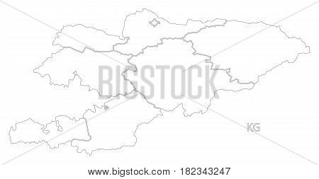 Kyrgyzstan Outline Silhouette Map Illustration With Provinces