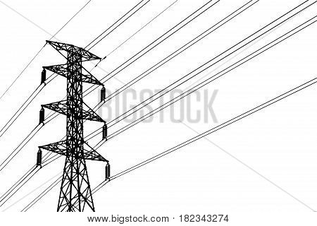 Silhouette of high voltage post( High-voltage tower Grid Utility ) isolated on white background.