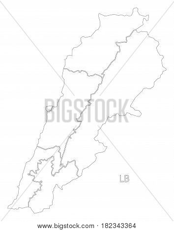 Lebanon Outline Silhouette Map Illustration With Governorates