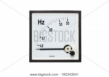 Analog hertz(Hz.)meter isolated on white background.( With clipping path.)