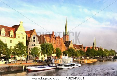Colorful painting of old city embankment, Lubeck, Trave river, Germany
