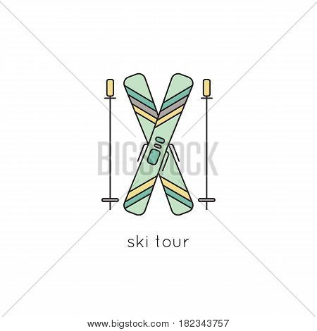 Ski equipment vector thin line icon. Colored isolated symbol. Logo template, element for winter tours, travel agency products, brochures and banners. Simple mono linear modern design.