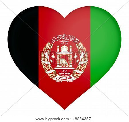 Illustration of the flag of Afghanistan shaped like a heart.