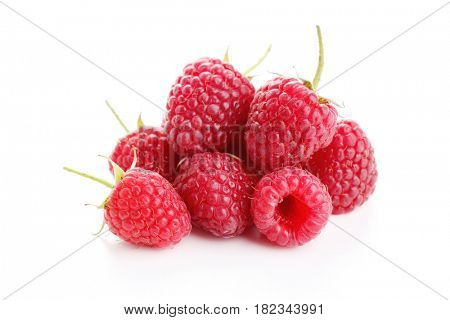 raspberry on white background - fruits and vegetables