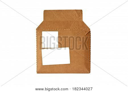 open cardboard envelope with empty adress area isolated on white background. mock-up.