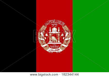 Illustration of the national flag of Afghanistan.