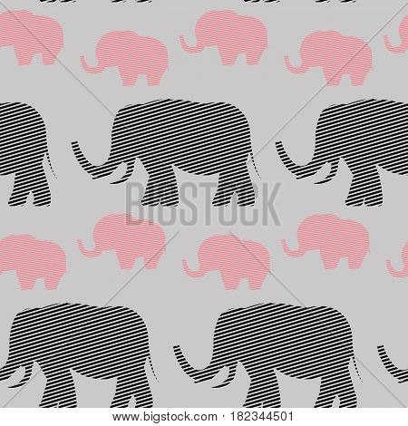 Vector flat background. Seamless pattern with graphic image. Elephants. Abstract illustration for print.