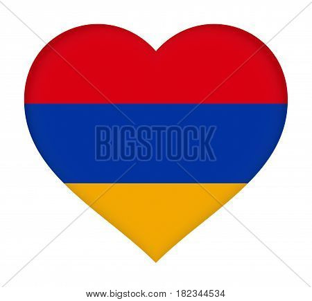 Illustration of the flag of Armenia shaped like a heart.