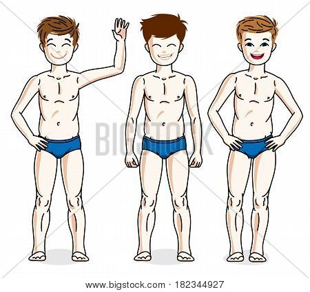 Cute Happy Young Teen Boys Posing In Blue Underwear. Vector Diversity Kids Illustrations Set.