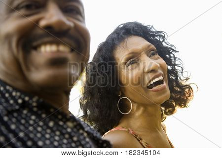 Senior African couple laughing