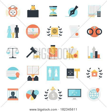 Law icon set of twenty five flat isolated colorful image compositions with conceptual legal profession signs vector illustration