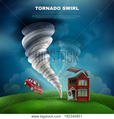 Tornado natural disaster design including house with broken roof door and window flying car dust vector   illustration