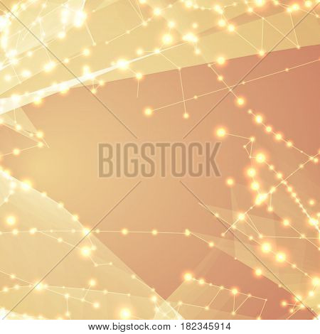 Abstract vector light orange polygonal mesh background. Futuristic technology style. Elegant background for business presentations. Flying debris. eps10
