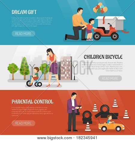Transport children horizontal banners set with parents and kids riding pavement cycle playcar with read more button vector illustration