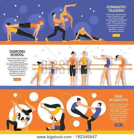 Horizontal flat banners set with dance school gymnastic training and exercises of acrobatic couple isolated vector illustration